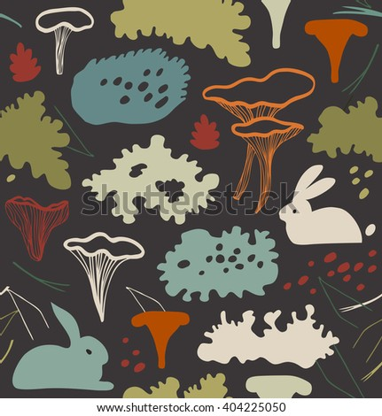 Seamless nordic floral pattern with chanter-elle mushrooms, reindeer moss, gray lichens, needles. Nature background texture.  - stock vector