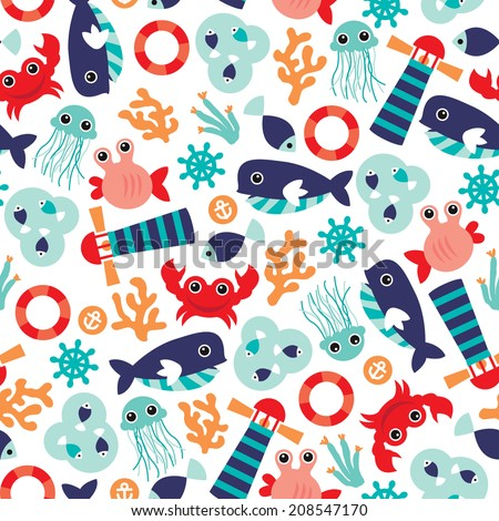 Seamless ocean marine theme jelly fish and coral illustration background pattern in vector - stock vector
