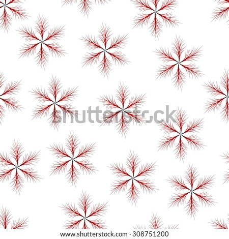 Seamless of red six-pointed star with thin twigs . fluffy seamless  for your design - stock vector