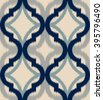 Seamless ogee ikat, vector ethnic background, traditional eastern pattern in calm blue and gray tones. - stock vector