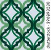 Seamless ogee ikat, vector ethnic background, traditional eastern pattern in green tones. - stock vector
