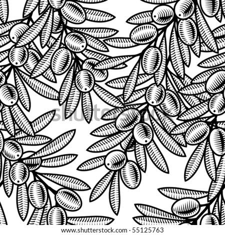 Seamless olive background black and white. Vector - stock vector