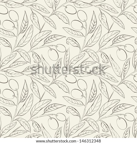 Seamless olive background black and white. Vector illustration. - stock vector