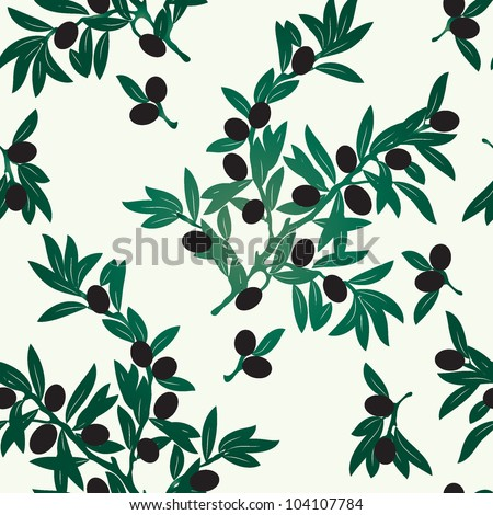 Seamless Olive Branches - stock vector