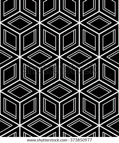 Seamless optical ornamental pattern with three-dimensional geometric figures. Intertwine black and white wallpaper.
