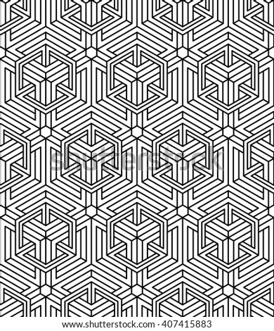 Seamless optical ornamental pattern with three-dimensional geometric figures. Intertwine black and white composition.