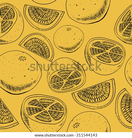 Seamless orange/grapefruit pattern. Delicious hand drawn citrus fruits, Background for cards, web-pages. Fresh colors.