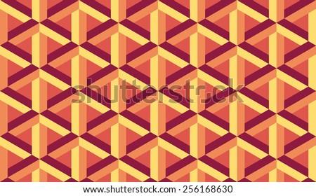 Seamless orange retro op art hex construction optical illusion vector pattern - stock vector