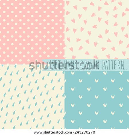 Seamless organic retro basic pastel geometric repeat pattern scandinavian style in vector - stock vector