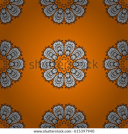 Seamless oriental classic white pattern. Vector abstract background with white repeating elements on a orange background.