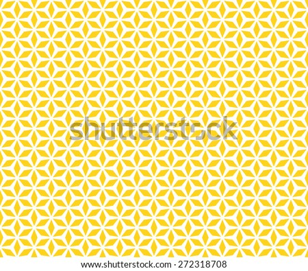 Seamless Oriental Floral Pattern of Six Diamond Petals. Light  Yellow Color. - stock vector