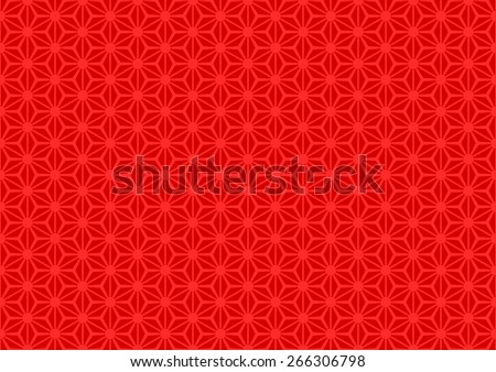 Seamless Oriental Floral Pattern With Large Dot on The Center of Each Grid. Red Color on Red Background. - stock vector