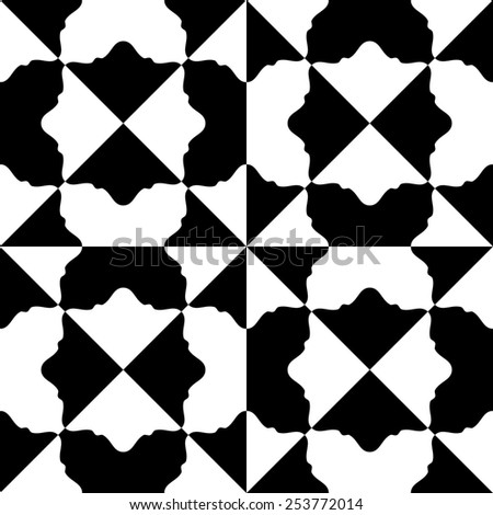 Seamless Oriental Ornament. Abstract Monochrome Background. Vector Geometric Pattern - stock vector