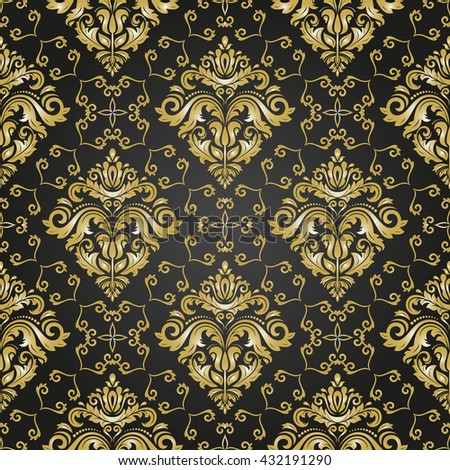 Seamless oriental ornament in the style of baroque. Traditional classic vector pattern. Black and golden pattern - stock vector
