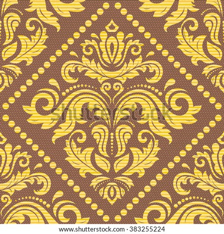 Seamless oriental ornament in the style of baroque. Traditional golden classic vector pattern