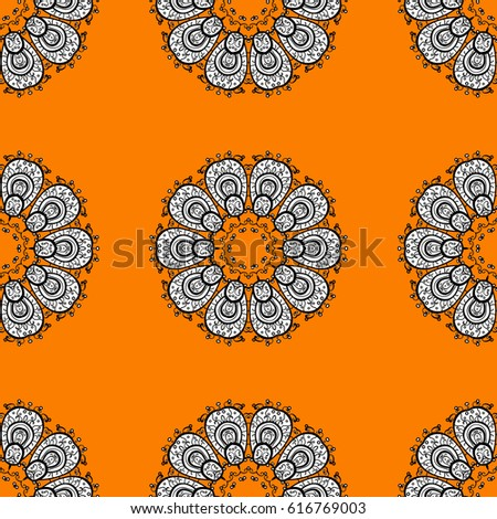 Seamless oriental ornament in the style of baroque. Vector traditional classic white seamless pattern on orange background.
