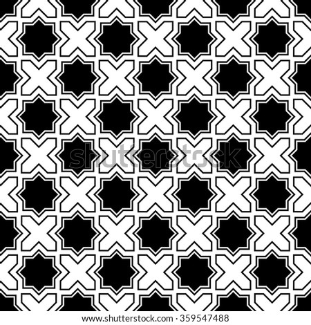 Seamless Oriental Pattern. Abstract Black and White Background. Vector Cross Pattern