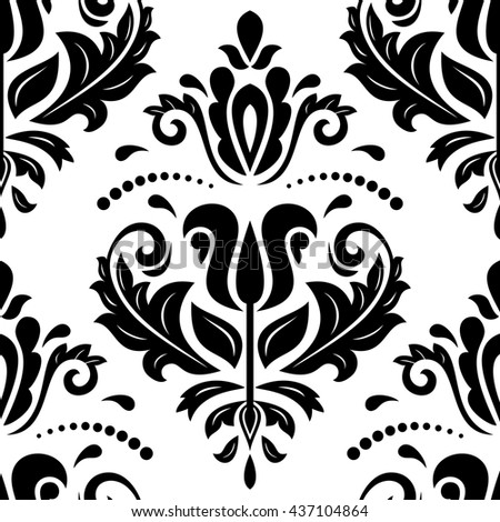 Seamless oriental pattern in the style of baroque. Traditional classic vector ornament. Black and white pattern - stock vector