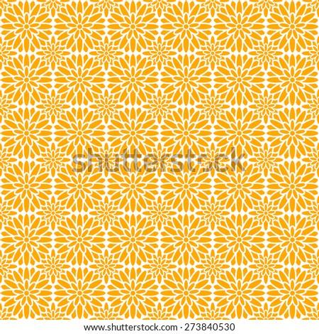 Seamless Oriental Pattern of Orange Chrysanthemum Flowers. - stock vector