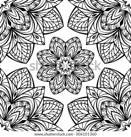 Seamless oriental pattern of round black elements on a white background. Vector pattern of intricate mandalas symmetrically located. Template for wallpapers. - stock vector