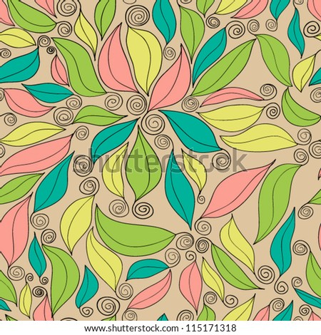Seamless original floral pattern with leaves - stock vector