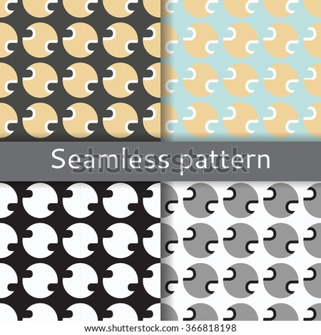 seamless ornament from circles white,blue, black and beige - stock vector