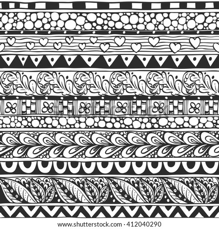 Seamless ornament from the geometric and floral elements in ethnic style black and white
