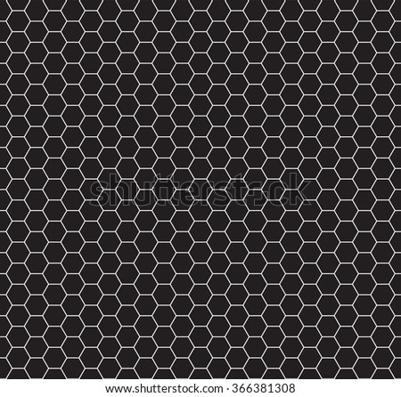 Seamless ornament made of black honeycomb pattern. Honeycomb mosaic pattern. Honeycomb mosaic seamless. Honeycomb mosaic illustration. - stock vector