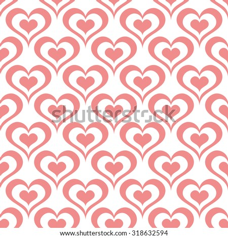 seamless ornament pattern with hearts vector illustration - stock vector