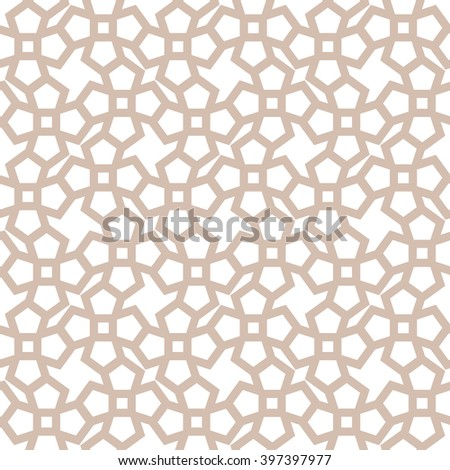 Seamless ornament sample, beige isolated pattern on white background, vector illustration