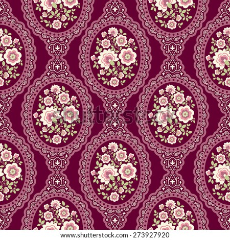 Seamless ornament with decorative elements. vintage wallpaper. - stock vector