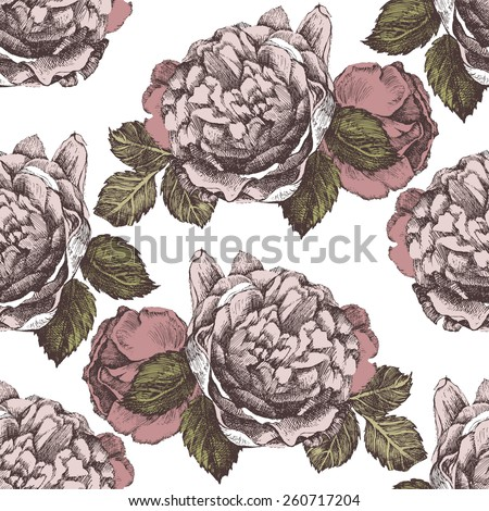 seamless ornament with hand drawn roses in vintage style - stock vector
