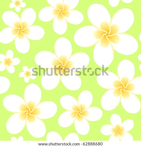 Seamless ornament with tropical flowers frangiapani - stock vector