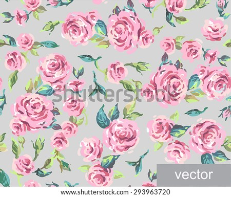 Seamless ornamental pattern of leaves and roses. Background. Provence. Vintage. Textile. Vector illustration.