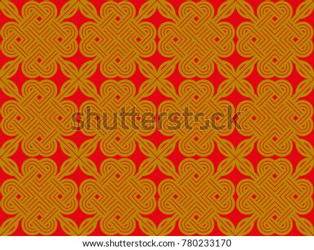 Seamless Ornamental Pattern Vector Gold On Red Background Design Print For Textile Wallpaper