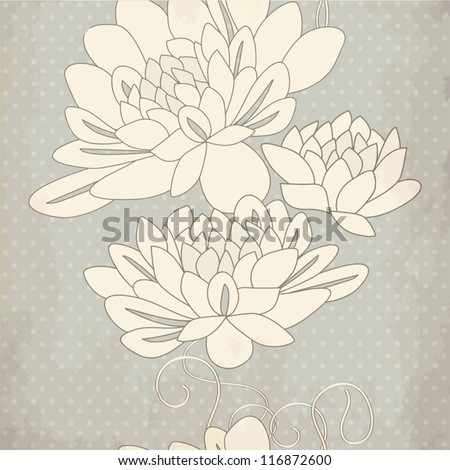 Seamless ornamental pattern with decorative dahlia flowers on grey background. Vintage vector illustration - stock vector