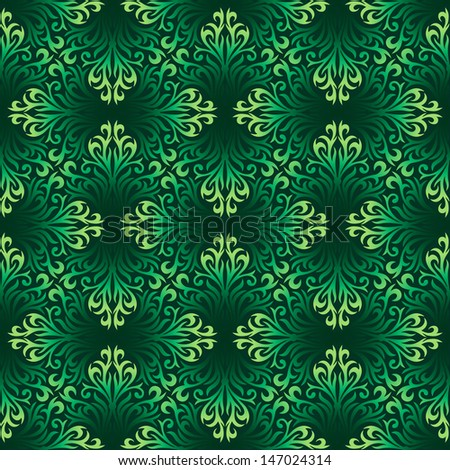 Seamless ornamental pattern with green leaves