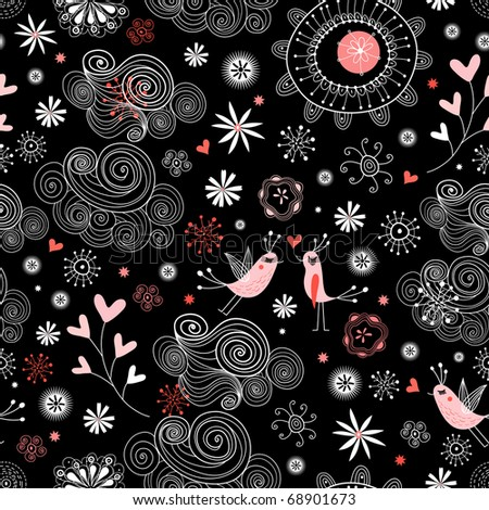 Seamless ornamental pattern with love birds in the clouds