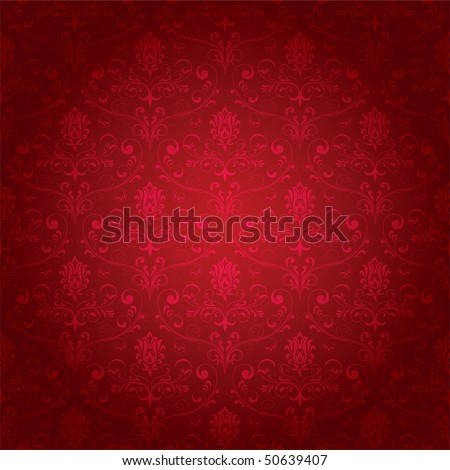 Seamless ornamental wallpaper, floral pattern, illustration - stock vector