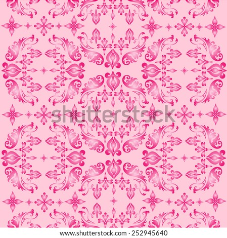 Seamless ornate background pink