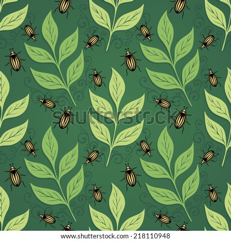Seamless Ornate Floral Pattern with Beetles (Vector)