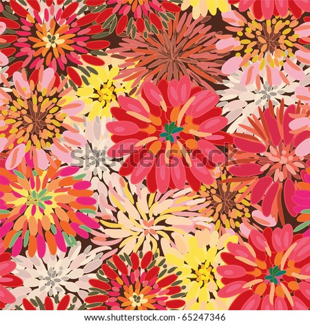 Seamless ornate floral pattern with herberas - stock vector
