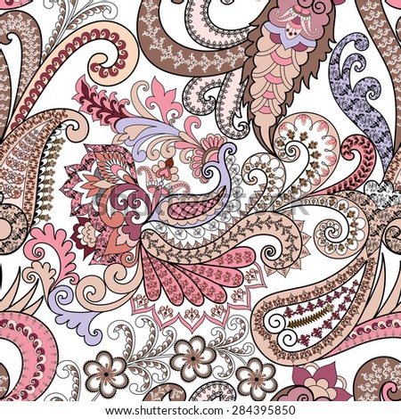 seamless, ornate paisley pattern in pink tones, decorated with swirls ethnic ornament - stock vector