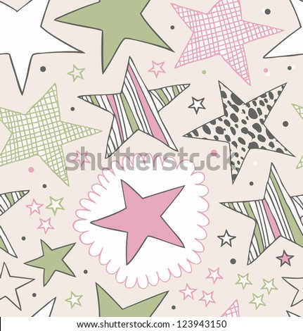 Seamless ornate pattern with stars. Starry hand drawn background. Doodle beautiful template for prints, crafts, clothes, wallpapers - stock vector