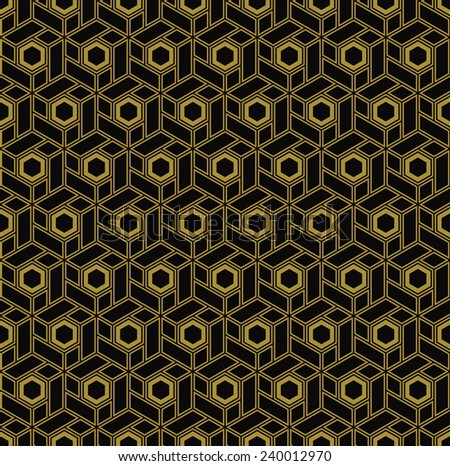 seamless outline pattern of gold hexagonal blocks in art deco style. - stock vector