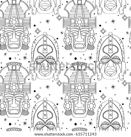 seamless outline pattern with tribal masks in black and white colors hand drawn design for