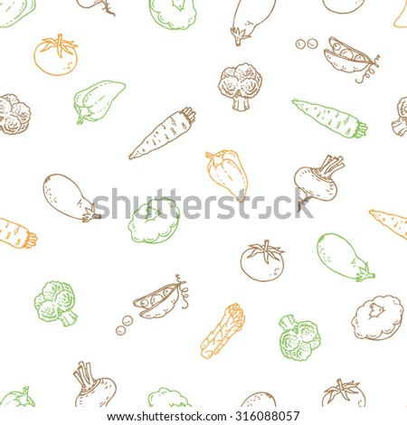 Seamless outline vegetable pattern