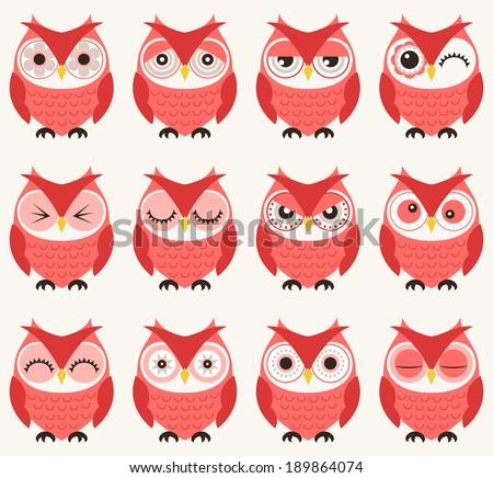 seamless owls pattern - stock vector