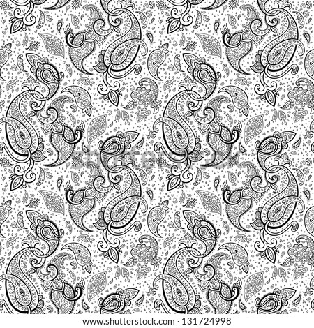 Seamless Paisley background. Hand Drawn vector pattern. - stock vector