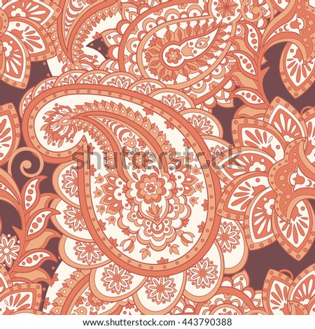 Seamless paisley pattern. Asian style floral vector background